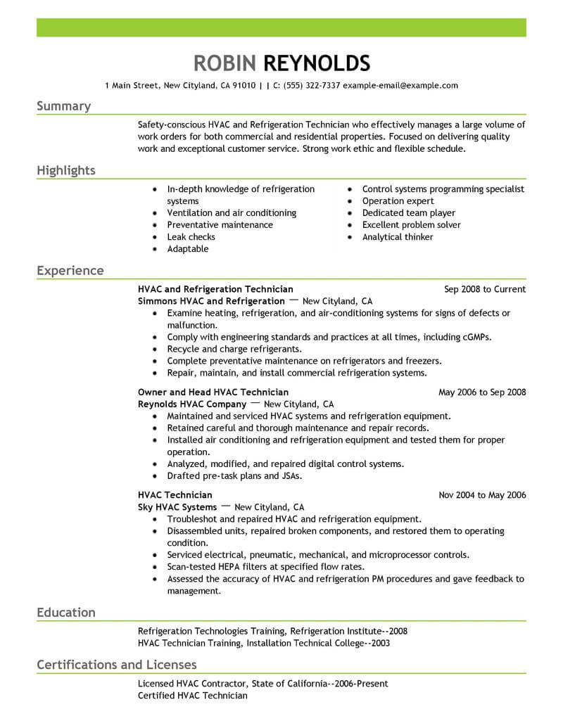 best hvac and refrigeration resume example livecareer for air conditioning technician Resume Resume For Air Conditioning Technician