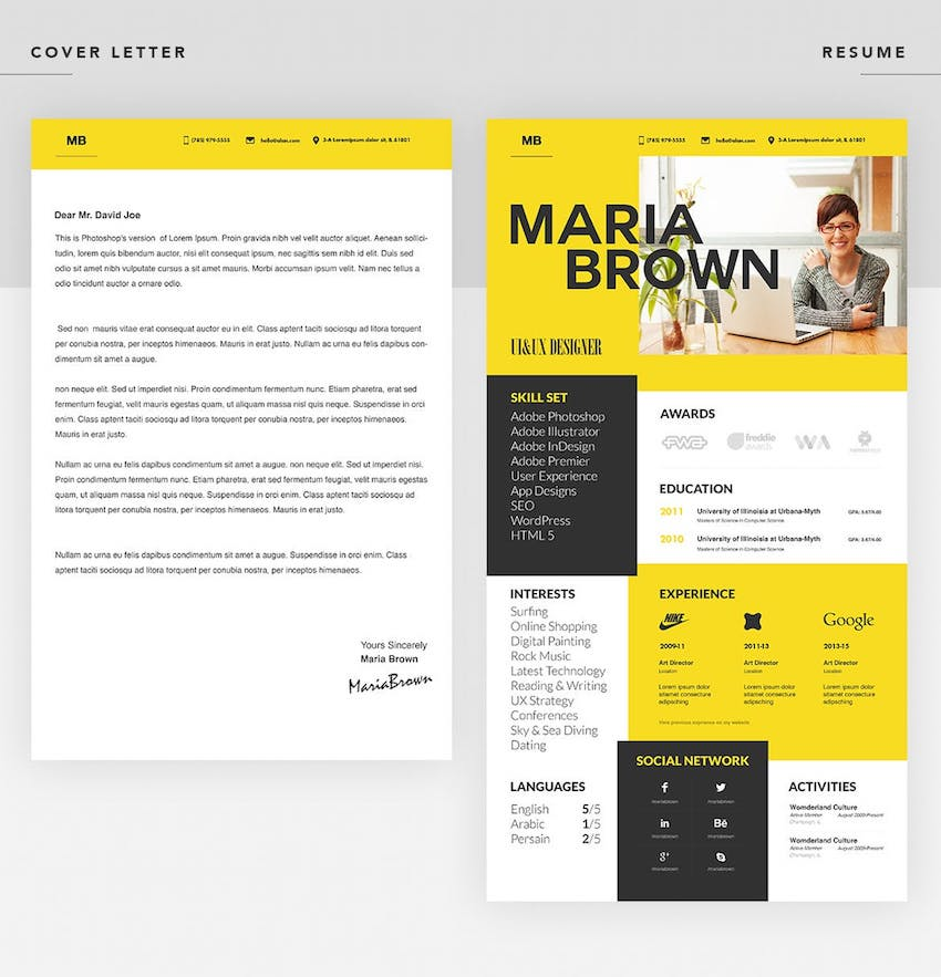 best in professional resume cv design templates cool modern template cover letter ff9cpl Resume Professional Resume Design Templates