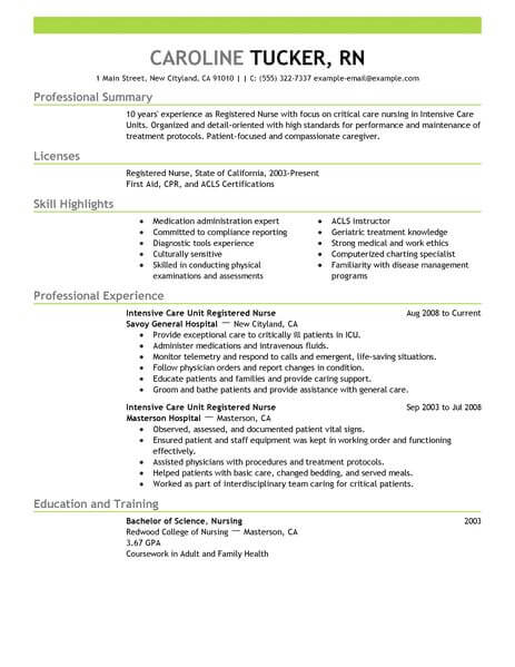 best intensive care unit registered nurse resume example livecareer professional summary Resume Professional Summary For Nursing Resume