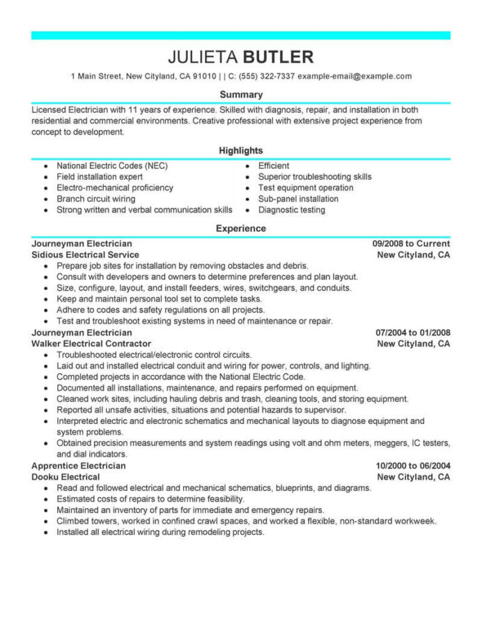 best journeyman electrician resume example livecareer duties for journeymen electricians Resume Electrician Duties For Resume
