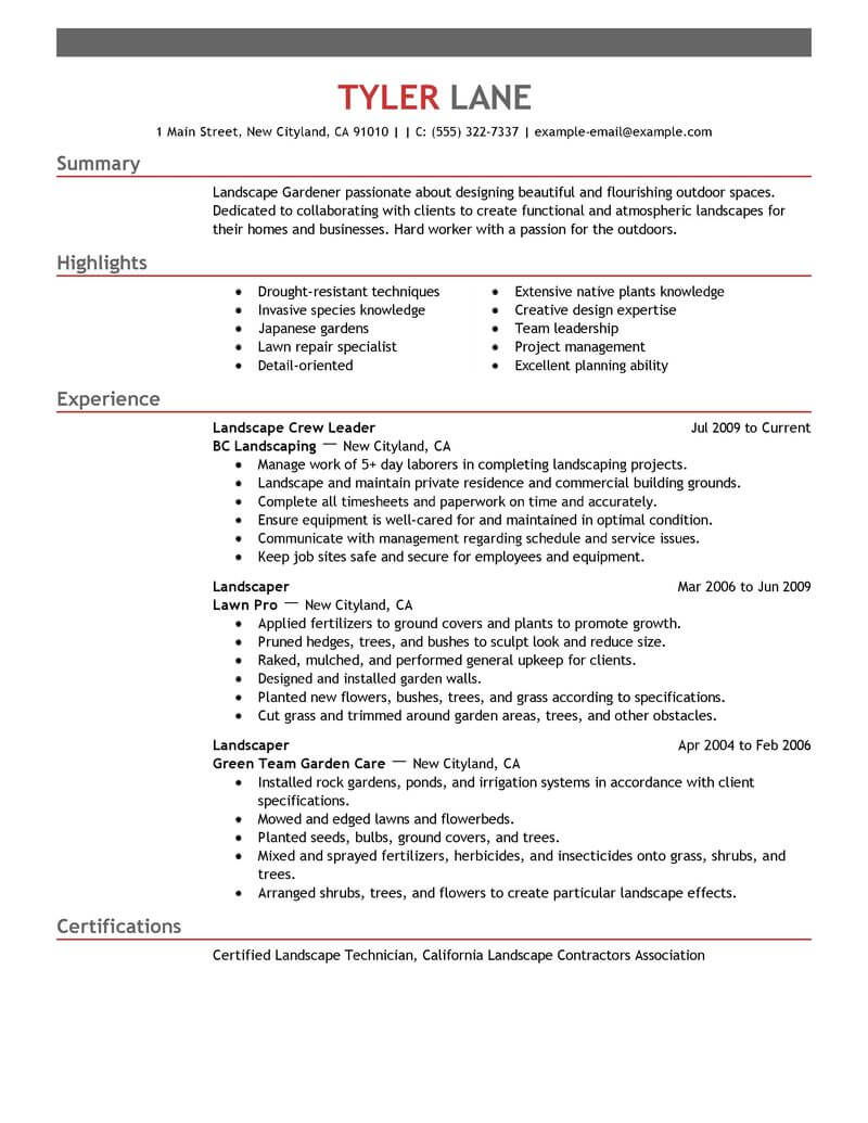 best landscaping resume example livecareer personal traits for agriculture environment Resume Personal Traits For Resume Example
