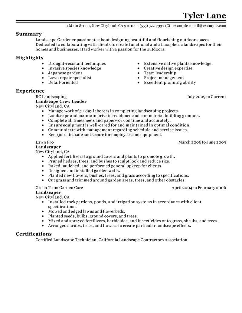 best landscaping resume example livecareer sample for lawn care worker agriculture Resume Sample Resume For Lawn Care Worker