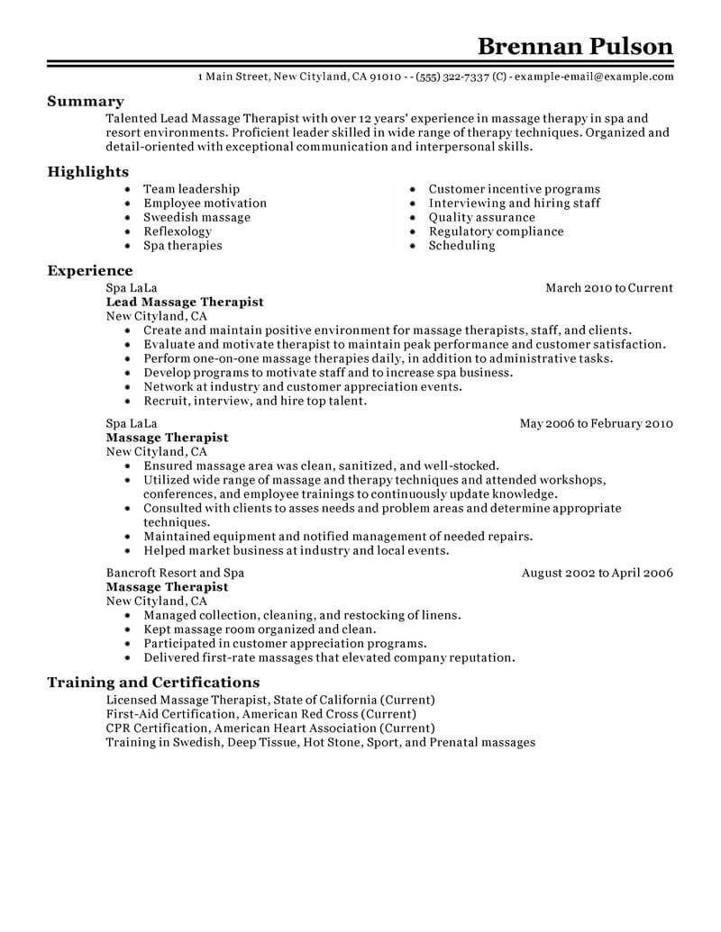 best lead massage therapist resume example from professional writing service sample bar Resume Sample Massage Therapist Resume