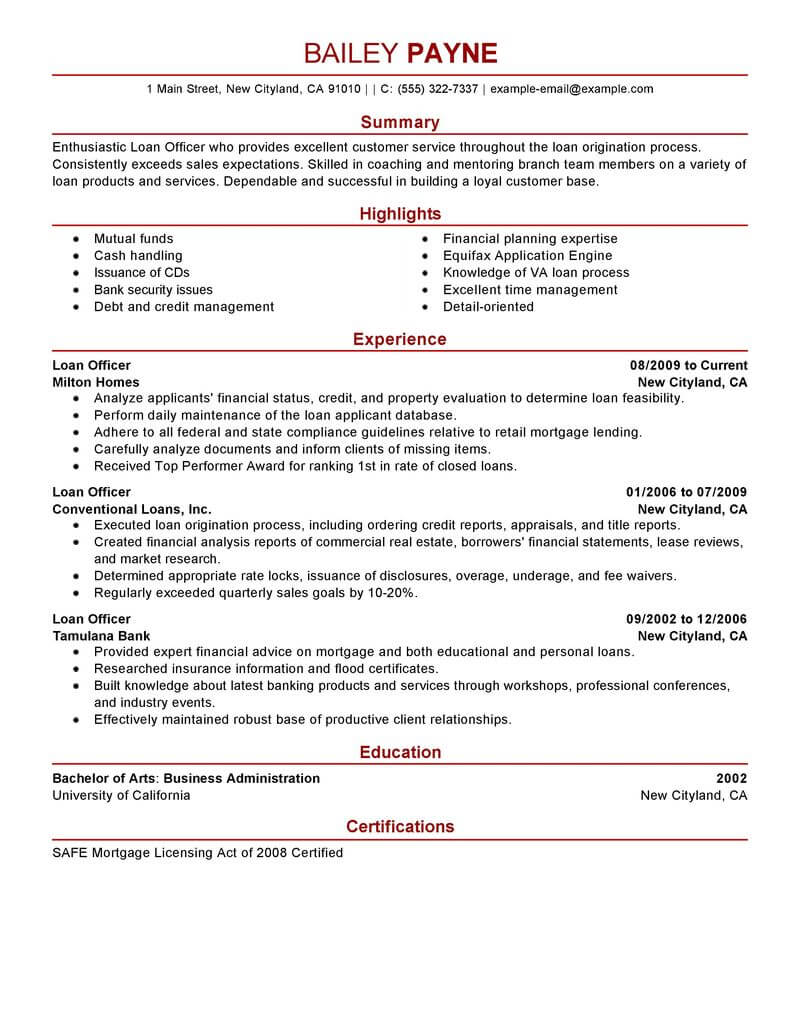 best loan officer resume example livecareer job description finance modern margins should Resume Loan Officer Resume Job Description