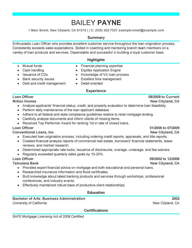 best loan officer resume example livecareer job description finance modern margins Resume Loan Officer Resume Job Description