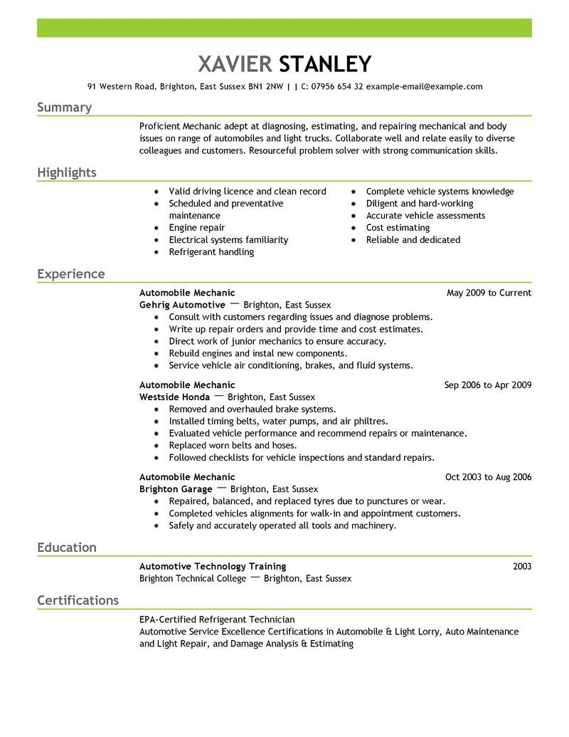 best mechanic resume example livecareer objective examples summary automotive technician Resume Automotive Technician Resume Search