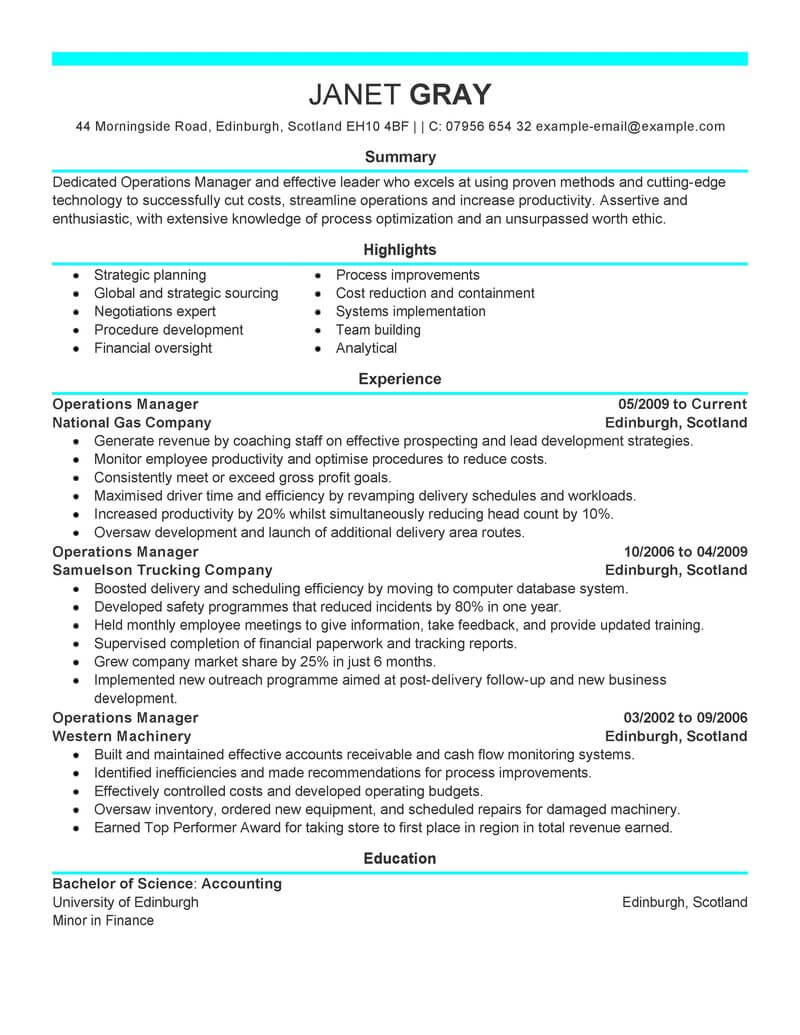 best operations manager resume example livecareer financial management modern dos and don Resume Financial Operations Manager Resume