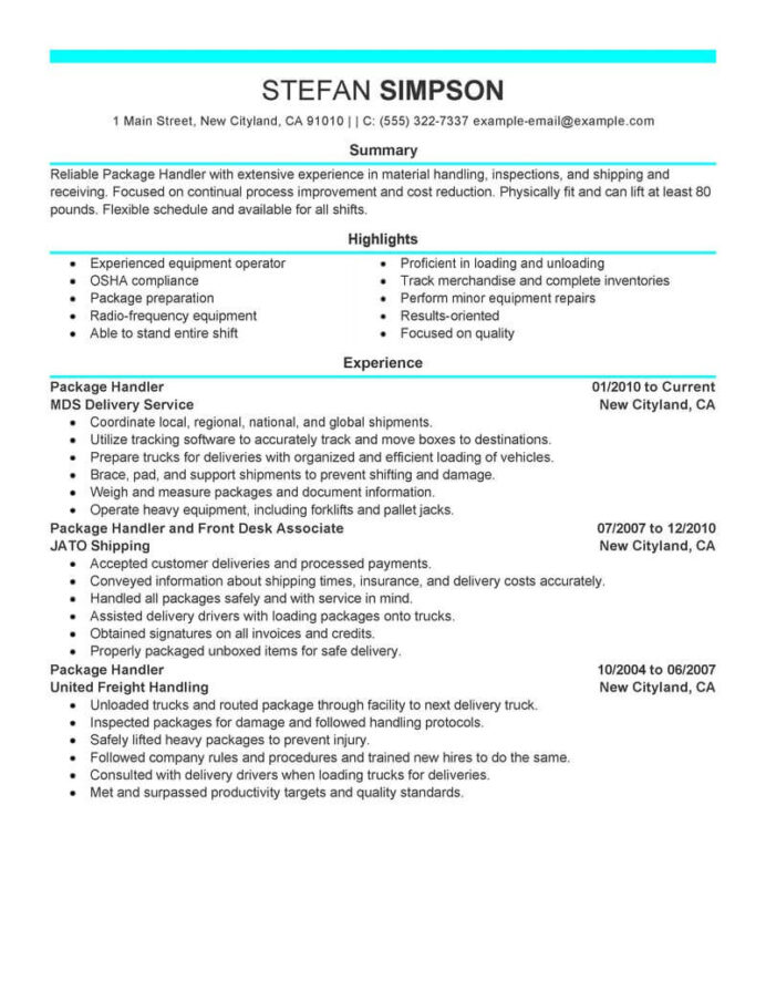 best package handler resume example livecareer ups transportation modern format for year Resume Ups Package Handler Resume