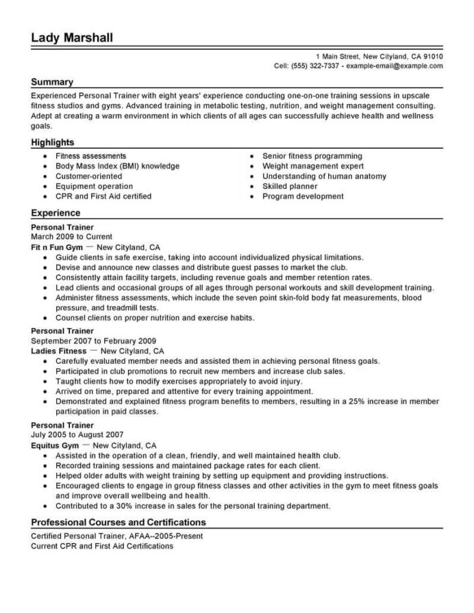 best personal trainer resume example from professional writing service sample help san Resume Personal Trainer Resume Sample
