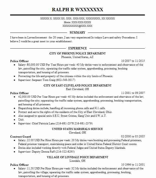 best police officer resume example livecareer law enforcement harvard template Resume Law Enforcement Officer Resume
