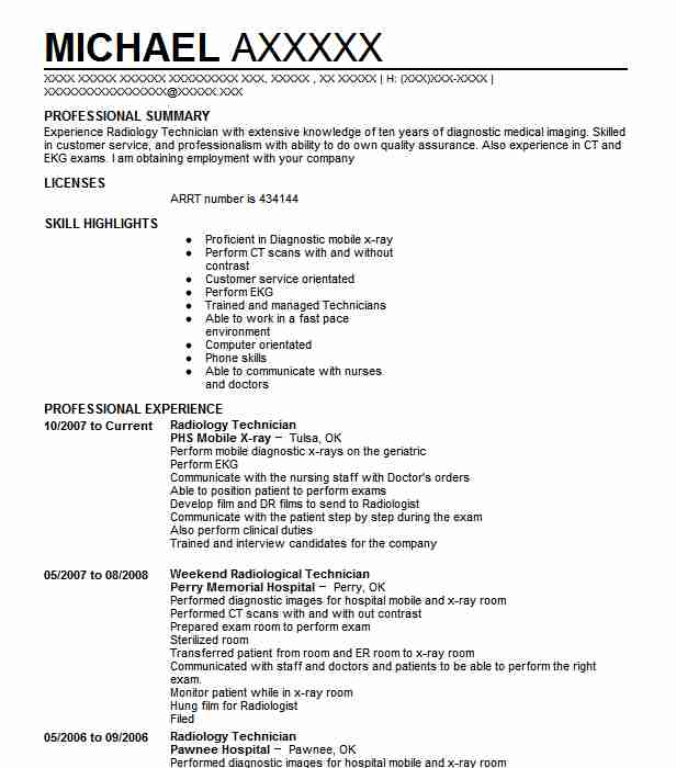 best radiology technician resume example livecareer tech template customer service Resume X Ray Tech Resume Template