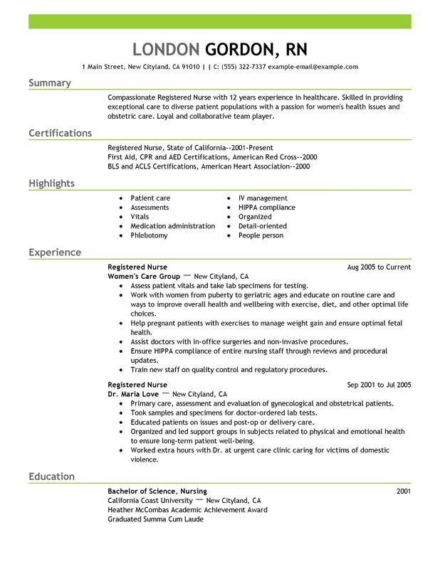 best registered nurse resume example for myperfectresume recipe nursing template examples Resume Free Nursing Resume Examples