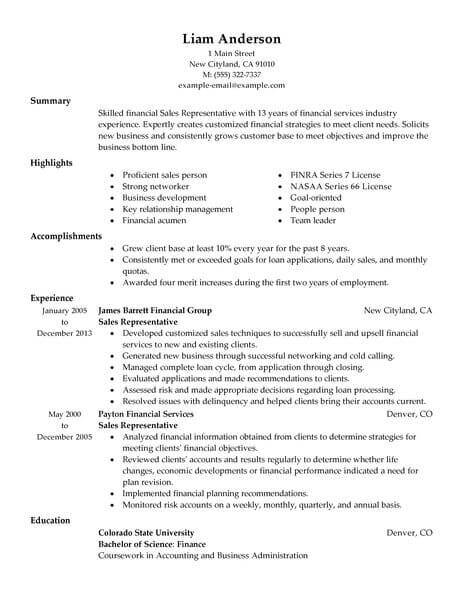 best representative resume example livecareer creating acounting finance traditional Resume Creating A Sales Resume
