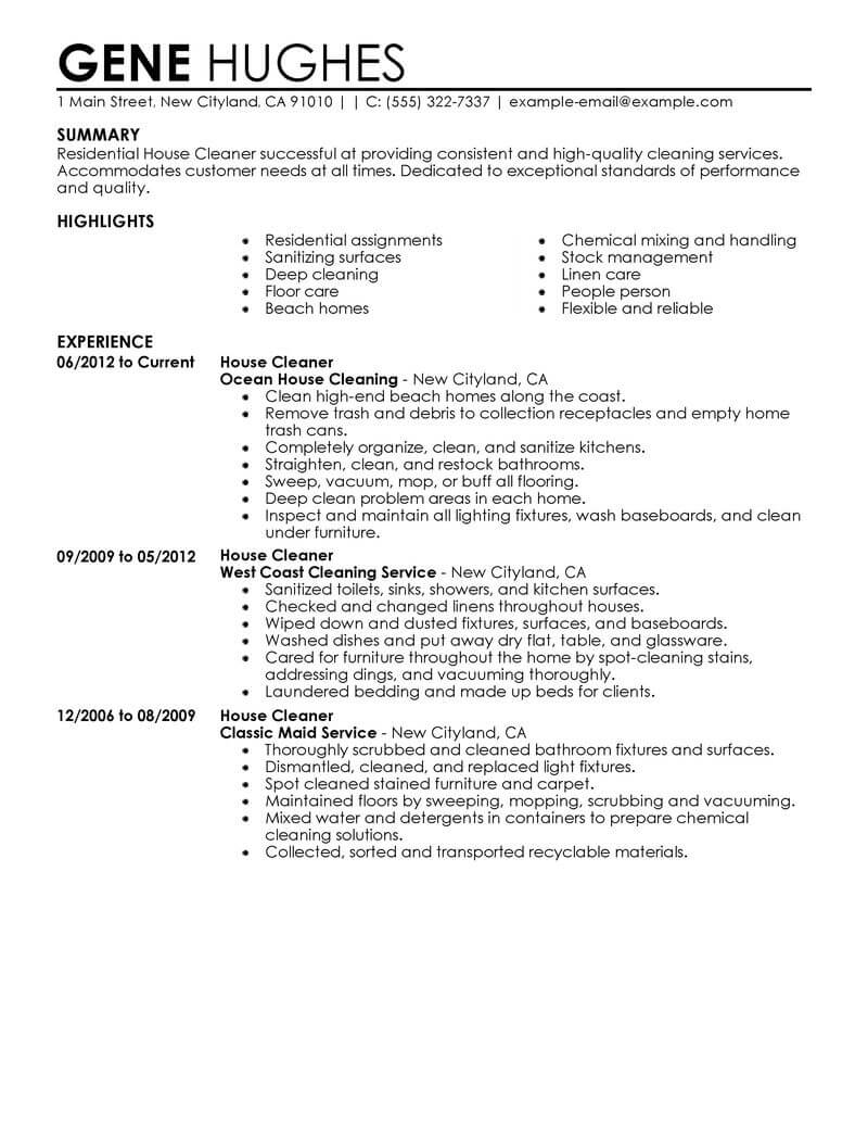 best residential house cleaner resume example livecareer cleaning job description for Resume House Cleaning Job Description For Resume