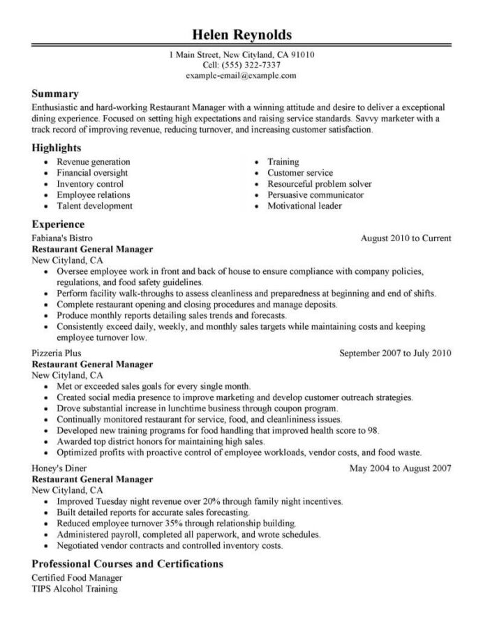 best restaurant manager resume example livecareer experience for management classic Resume Restaurant Experience For Resume