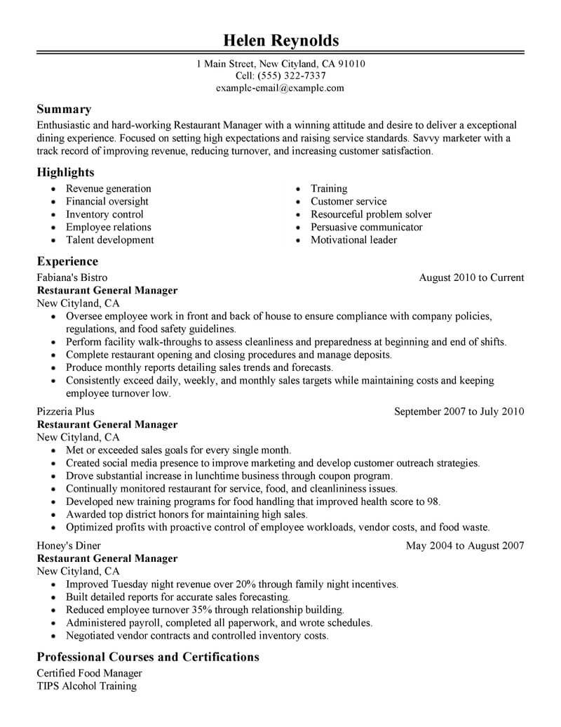 best restaurant manager resume example livecareer for job management classic sap hcm Resume Resume For Restaurant Job
