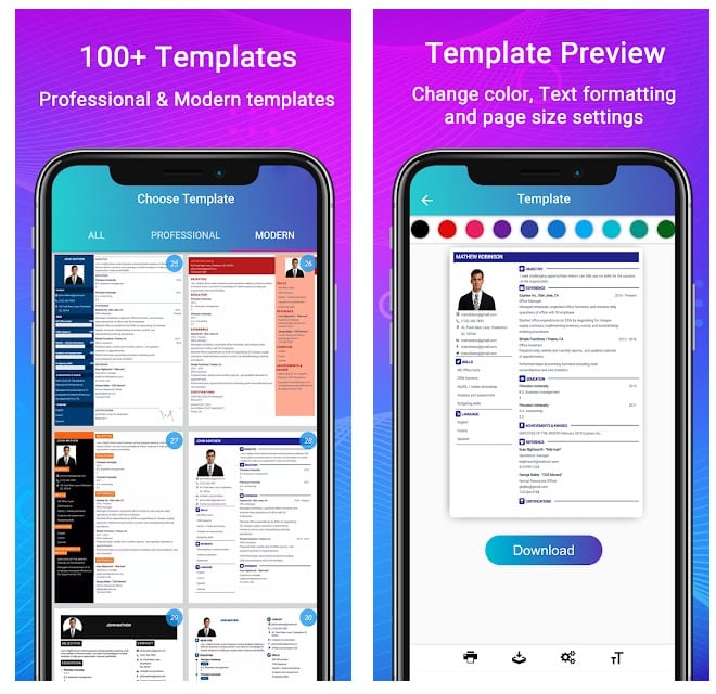 best resume builder apps for android and more free cv maker templates overview ux Resume Free Mobile Resume Builder