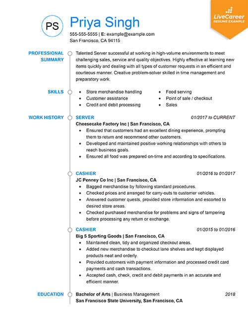best resume formats of livecareer format examples chronological tumb servsafe new Resume Best Resume Format Examples