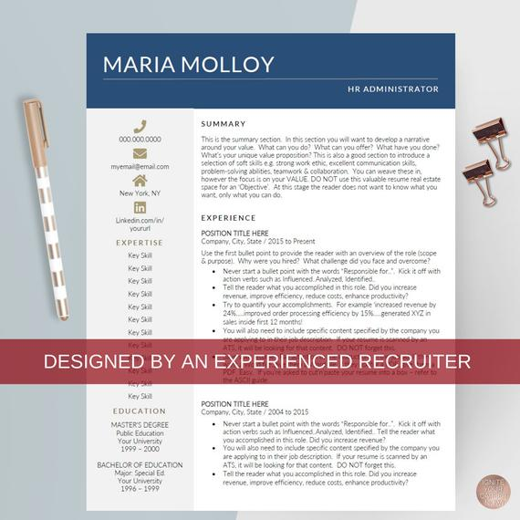 best resume template modern cv hr human etsy il 570xn a7fz experience with software on Resume Best Modern Resume Template