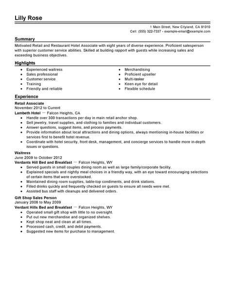best retail and restaurant associate resume example livecareer objectives for hotel Resume Resume Objectives For Hotel And Restaurant Services
