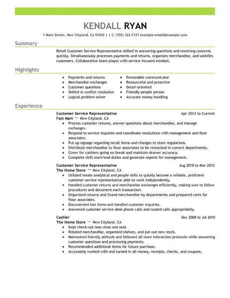 best retail customer service representative resume example livecareer professional Resume Customer Service Professional Summary For Resume