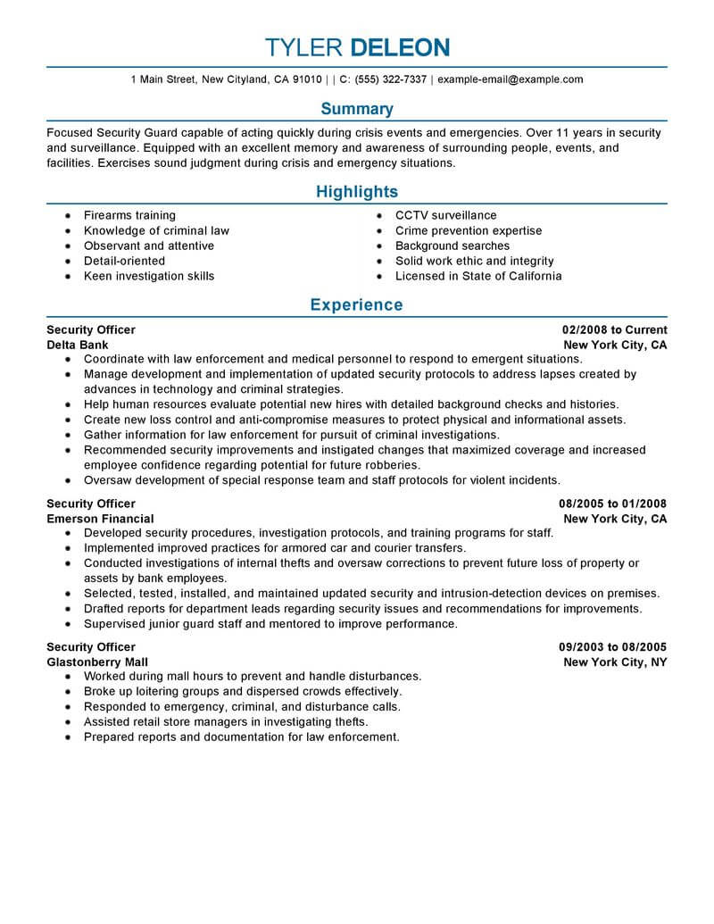 best security officer resume example from professional writing service examples medical Resume Security Officer Resume Examples