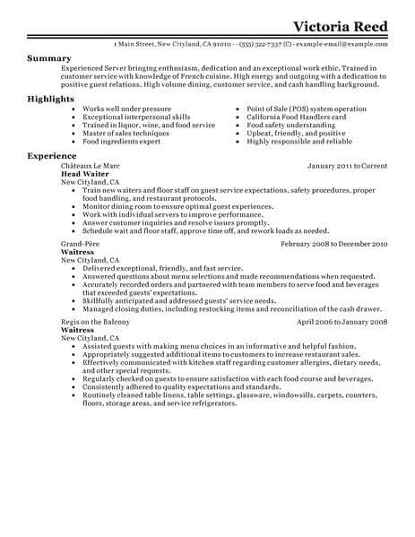 best server resume example livecareer for restaurant job food classic 463x600 basic Resume Resume For Restaurant Job