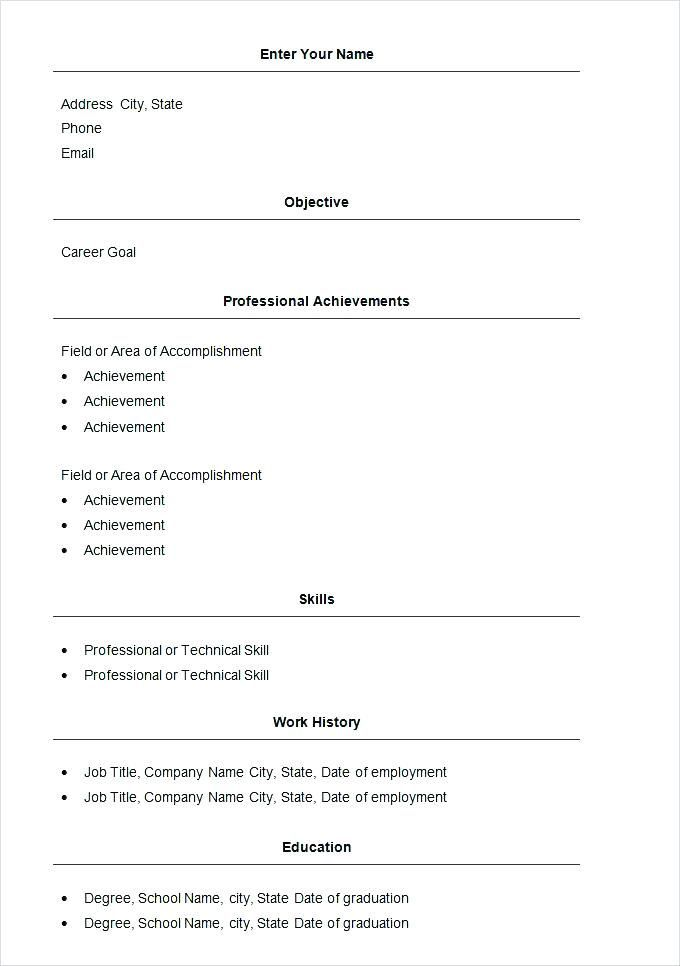 best simple resume templates free basic template samples format federal word computer Resume Basic Resume Template Free