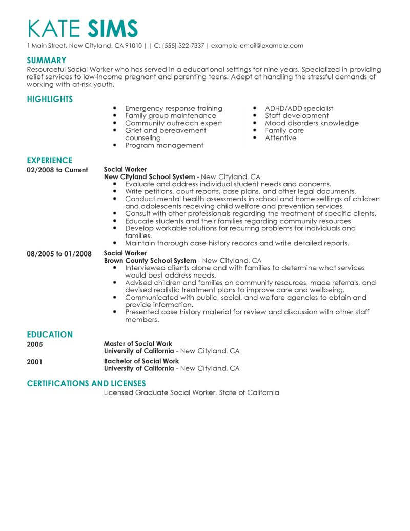 best social worker resume example livecareer sample services contemporary examples Resume Social Worker Resume Sample