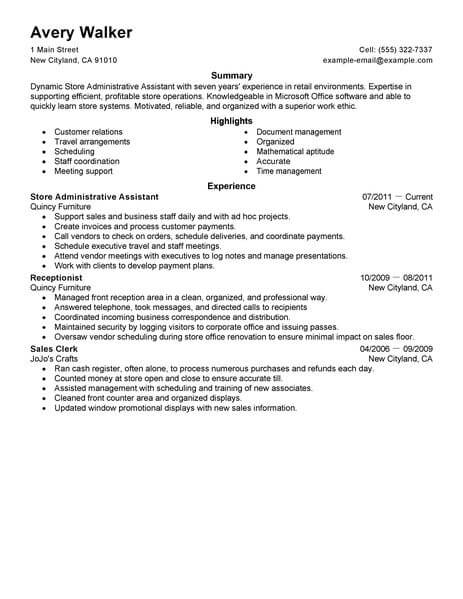 best store administrative assistant resume example livecareer accomplishments for Resume Administrative Assistant Accomplishments For Resume