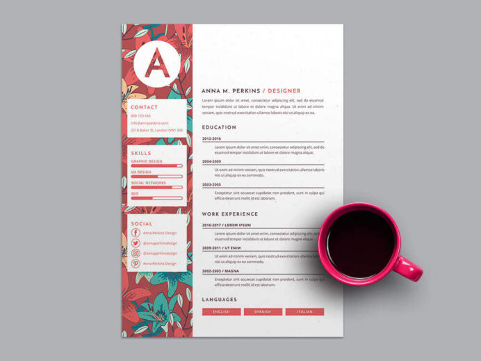 best top free modern cv template just slides pretty resume templates floral background Resume Pretty Resume Templates
