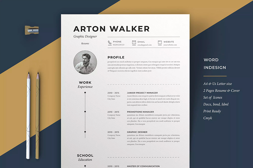best web graphic designer resume cv templates examples for professional airton on envato Resume Professional Graphic Designer Resume