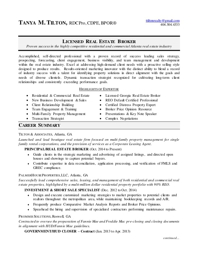broker resume estate retail job experience additional training on email note when sending Resume Real Estate Broker Resume