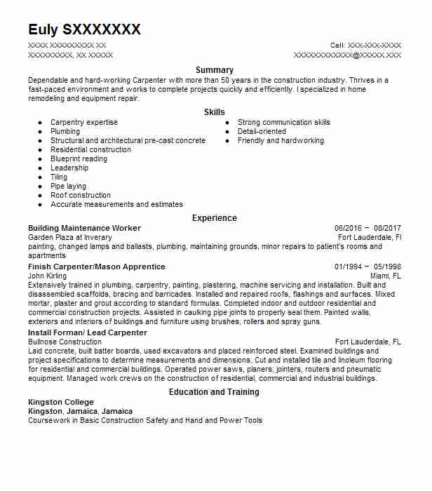 building maintenance worker resume example livecareer examples for jobs daycare provider Resume Resume Examples For Maintenance Jobs