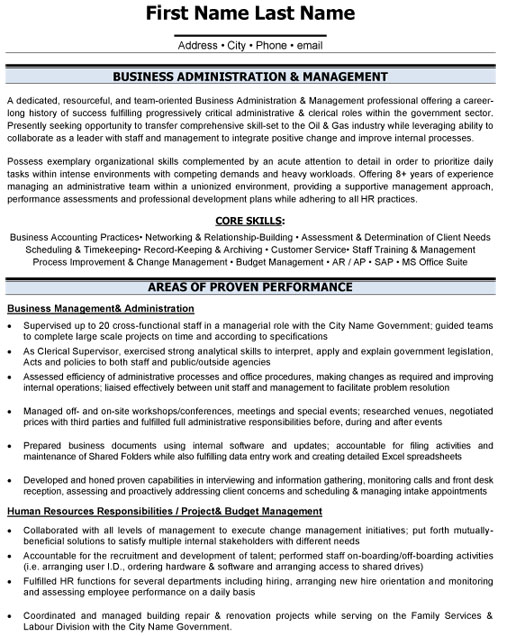 business administration resume sample template professional adm management office Resume Professional Business Resume Template