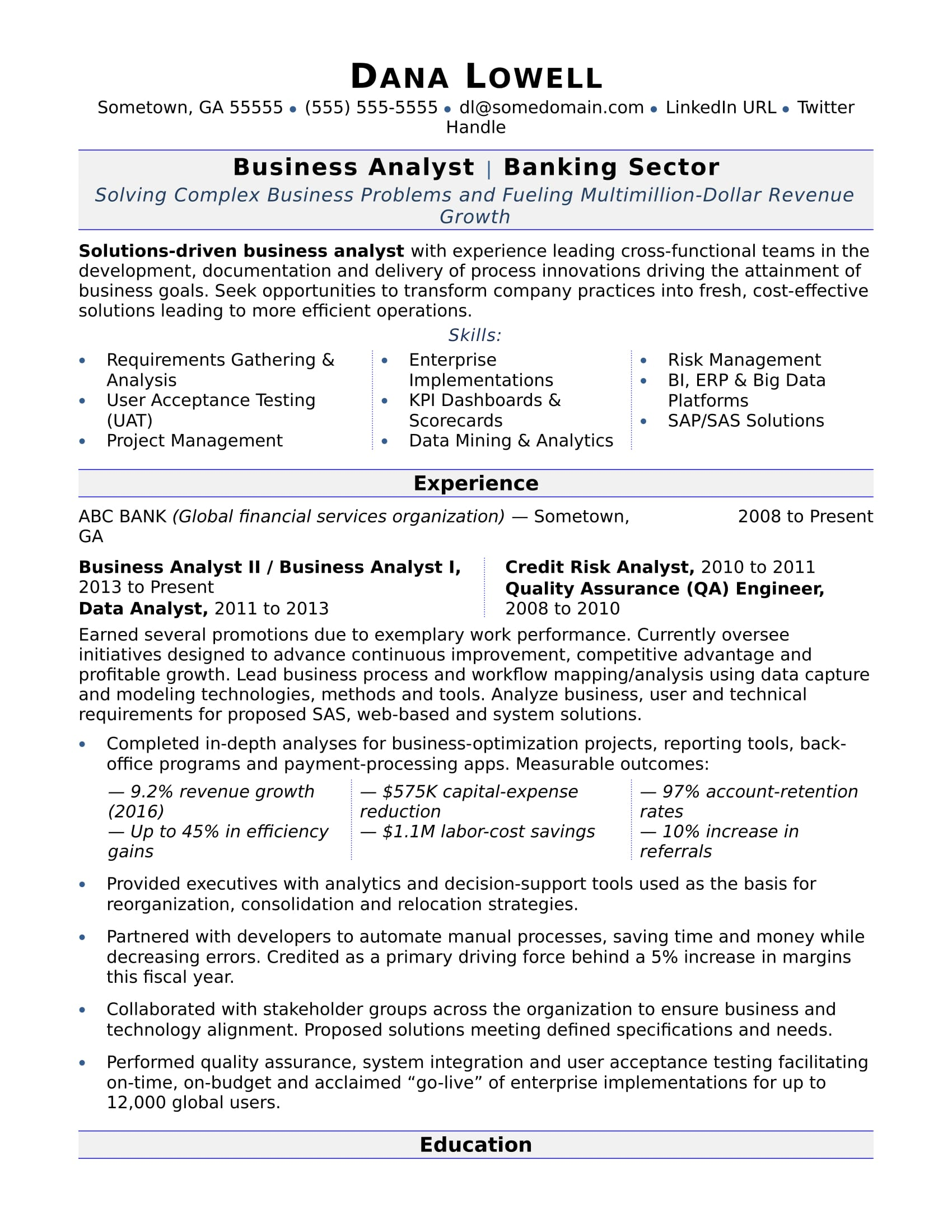 business analyst resume sample monster examples businessanalyst como hacer un para Resume Business Resume Examples 2020