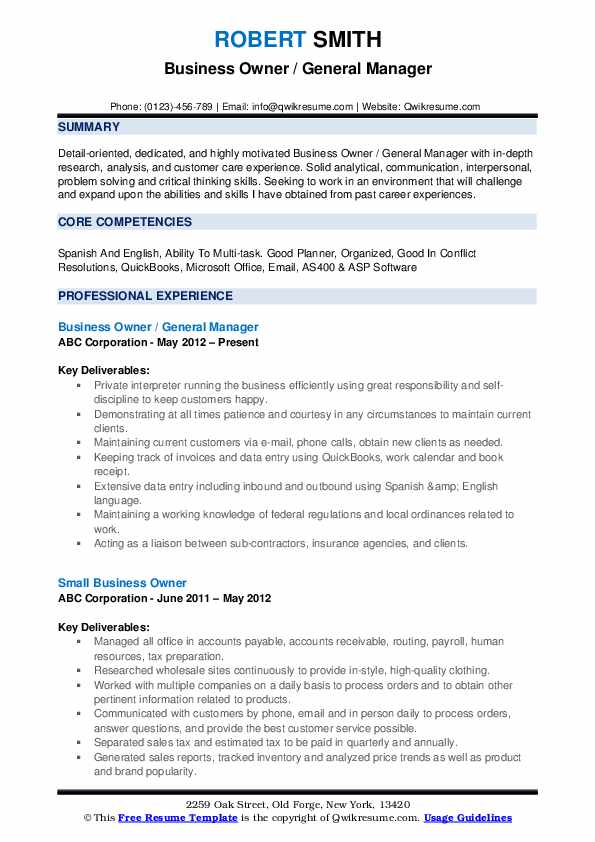business owner resume samples qwikresume professional template pdf hca appropriate email Resume Professional Business Resume Template