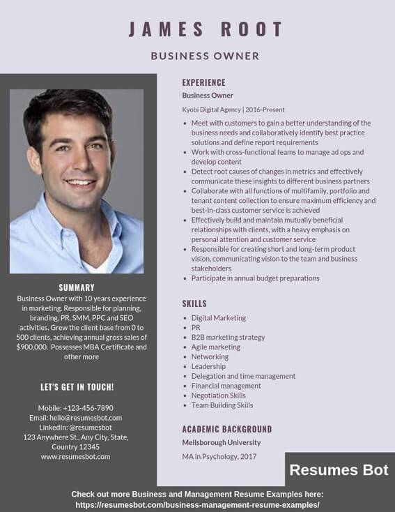 business owner resume samples templates pdf resumes bot great examples example does need Resume Great Business Resume Examples