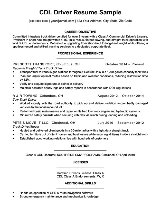 by truck driver resume format cdl engineering skills section microsoft word assistant Resume Class A Cdl Driver Resume