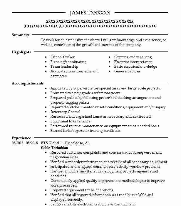 cable technician resume example livecareer telecommunications objective free sample Resume Telecommunications Technician Resume Objective
