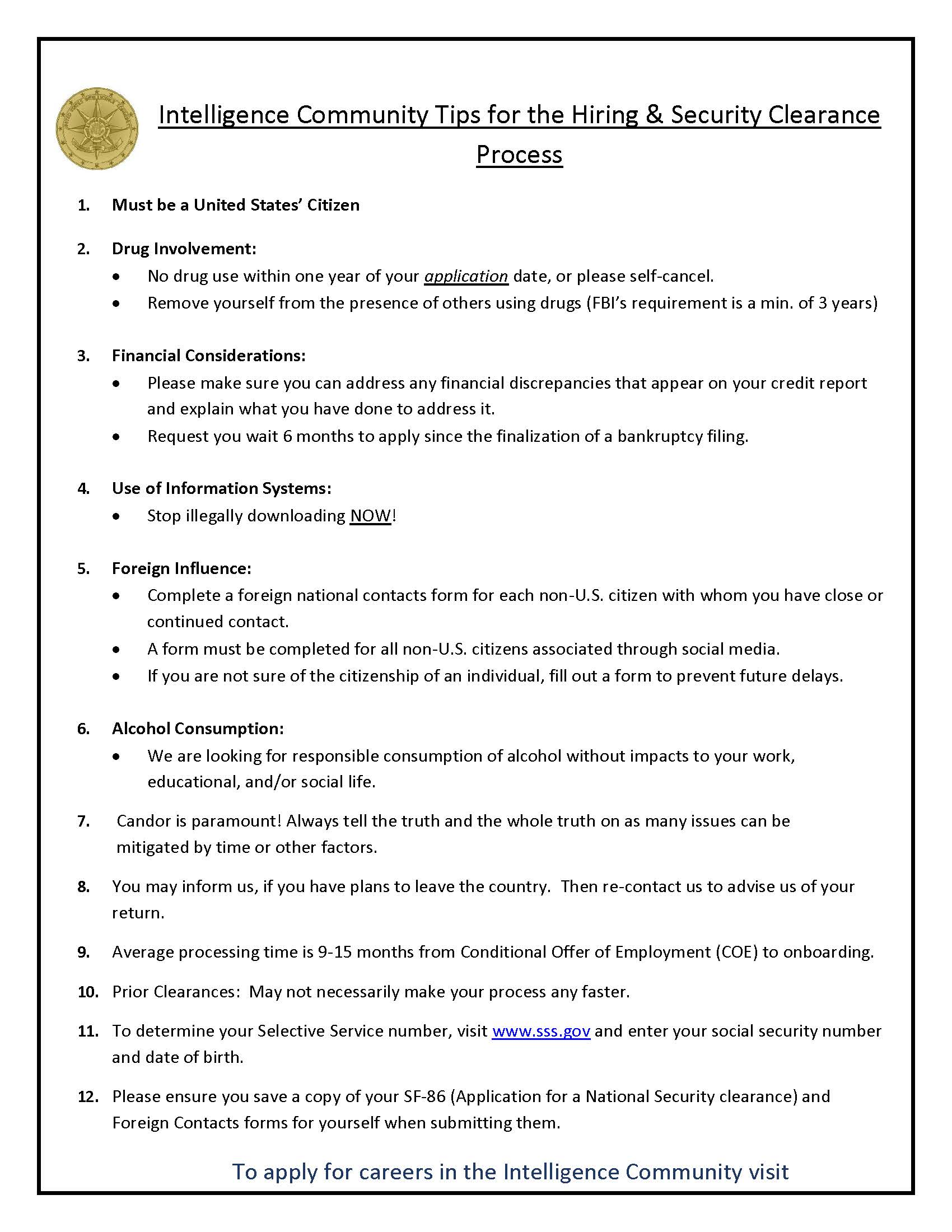 career resources intelligence community center for academic excellence security clearance Resume Security Clearance On Resume
