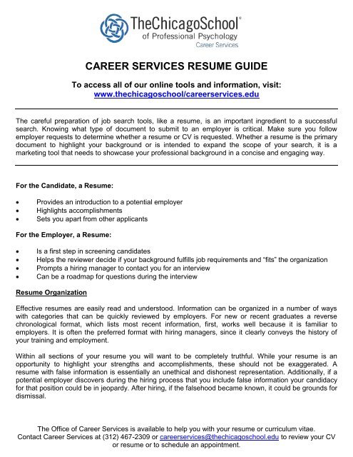 career services resume guide the chicago school of professional and interview machine Resume Resume And Interview Services