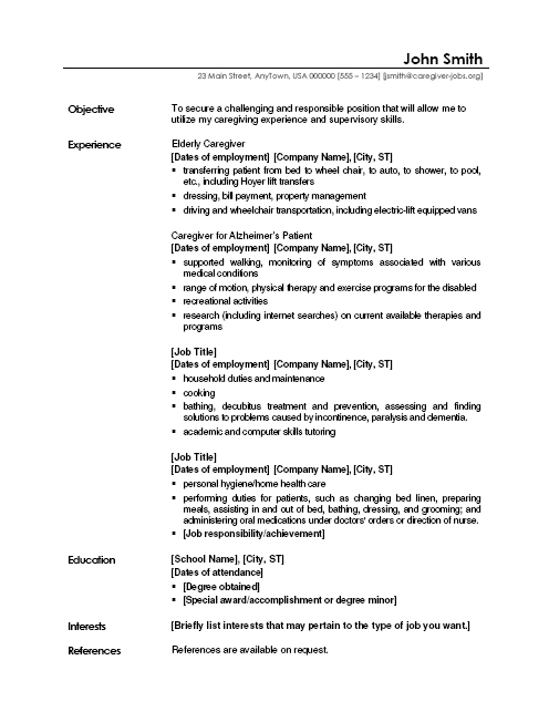 caregiver jobs example of resume samples duties sample job application format for fitness Resume Caregiver Duties Resume