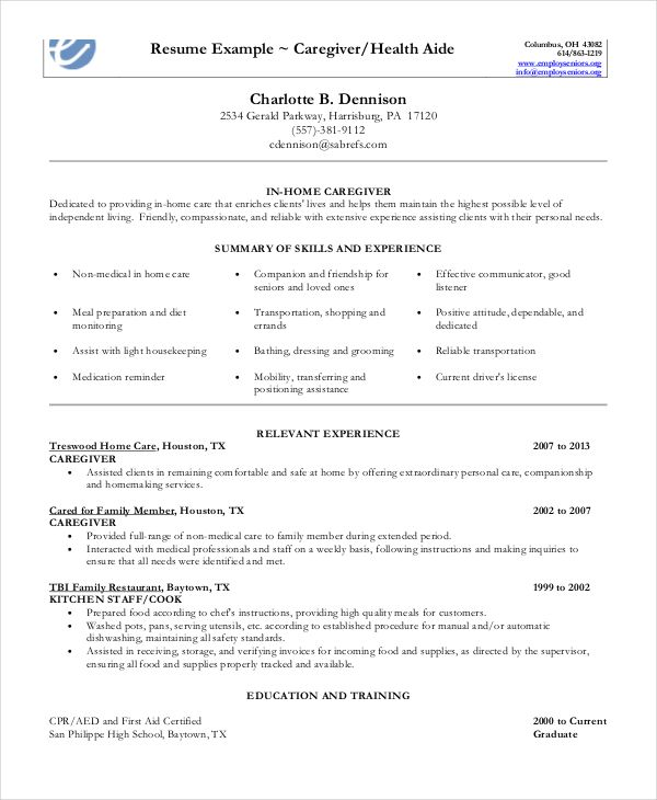 caregiver resume example free word pdf documents examples skills teacher for samples Resume Resume Examples For Caregiver Skills