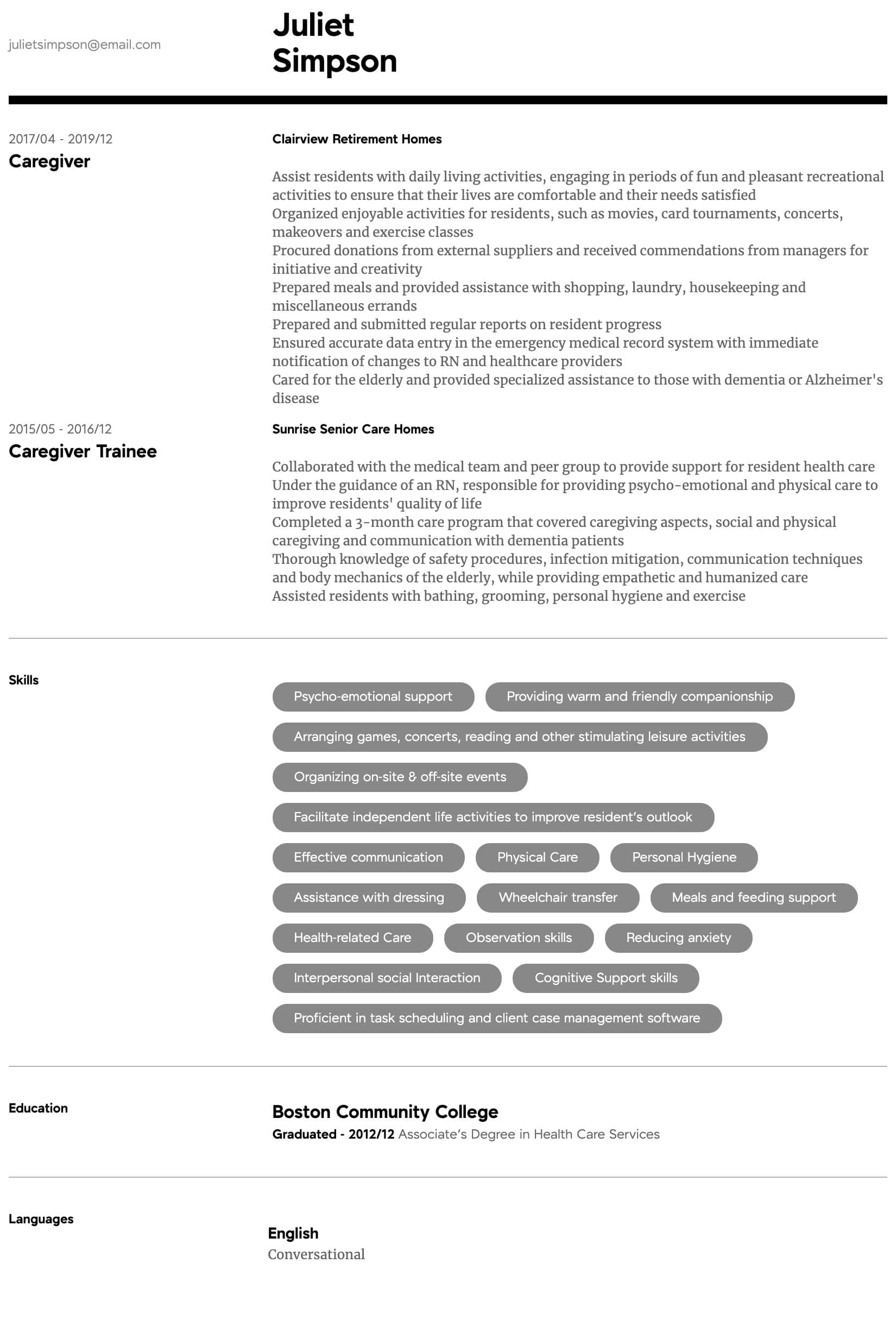 caregiver resume samples all experience levels examples for skills intermediate refrences Resume Resume Examples For Caregiver Skills