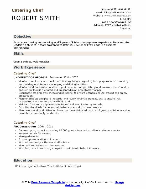 catering chef resume samples qwikresume for pdf information technology objective sample Resume Resume For Chef Cook