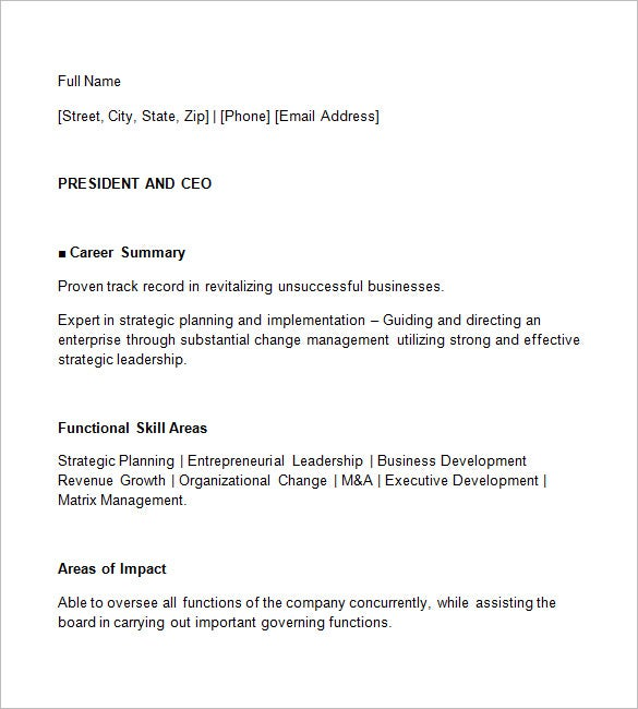 ceo resume template free samples examples format premium templates academic salon Resume Free Ceo Resume Templates