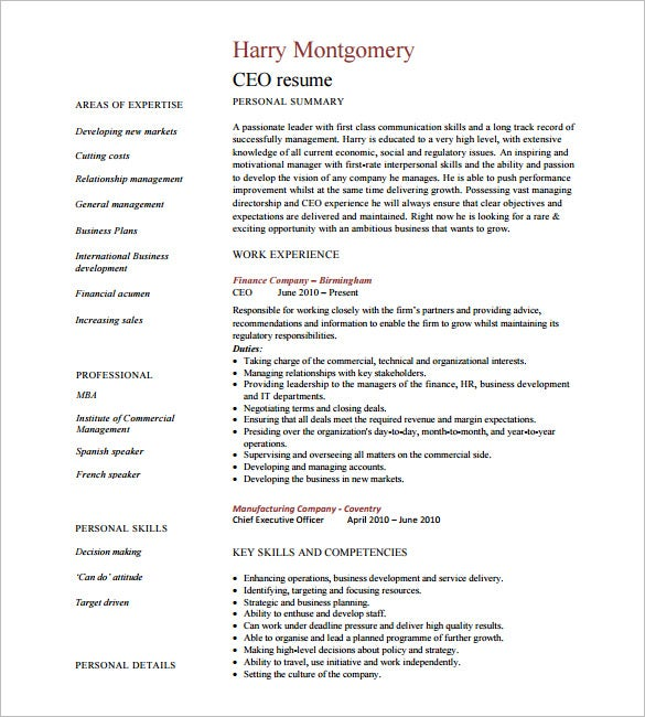 ceo resume template free samples examples format premium templates carlson school of Resume Free Ceo Resume Templates