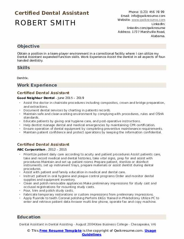 certified dental assistant resume samples qwikresume template pdf high school profile Resume Dental Assistant Resume Template