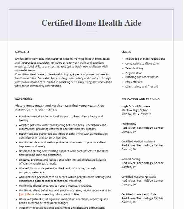 certified home health aide resume example resumes livecareer job description for medical Resume Home Health Aide Job Description For Resume